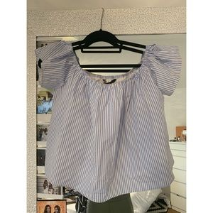 Zara Blue and White Striped Off Shoulder Top Small